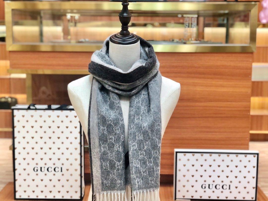 Gucci羊绒围巾 长流苏装饰专柜同款(图7)