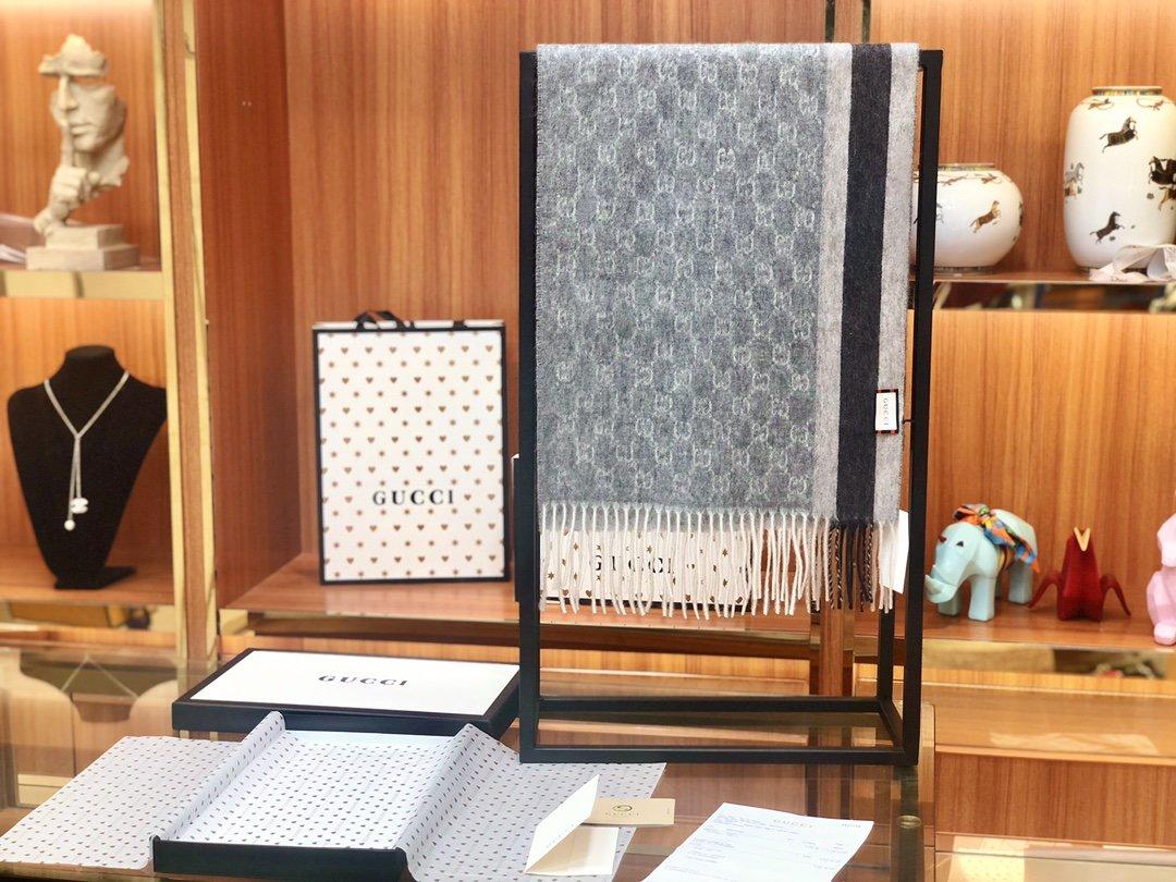 Gucci羊绒围巾 长流苏装饰专柜同款(图2)