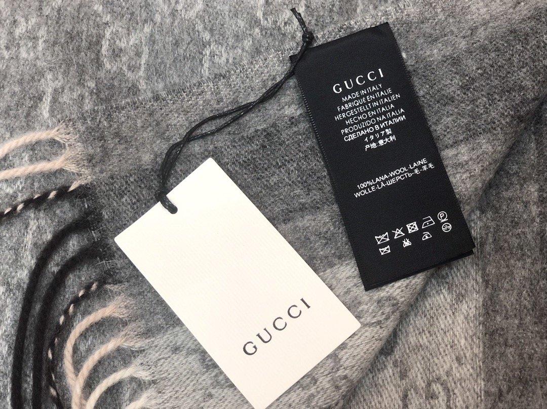 Gucci羊绒围巾 长流苏装饰专柜同款(图4)