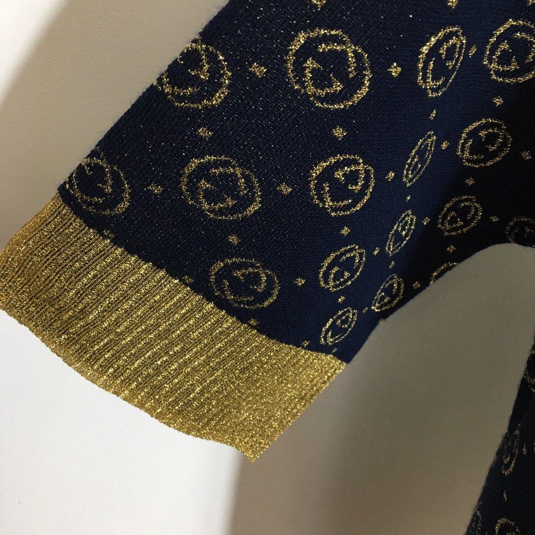 Gucci新款双G字母金线刺绣提花圆