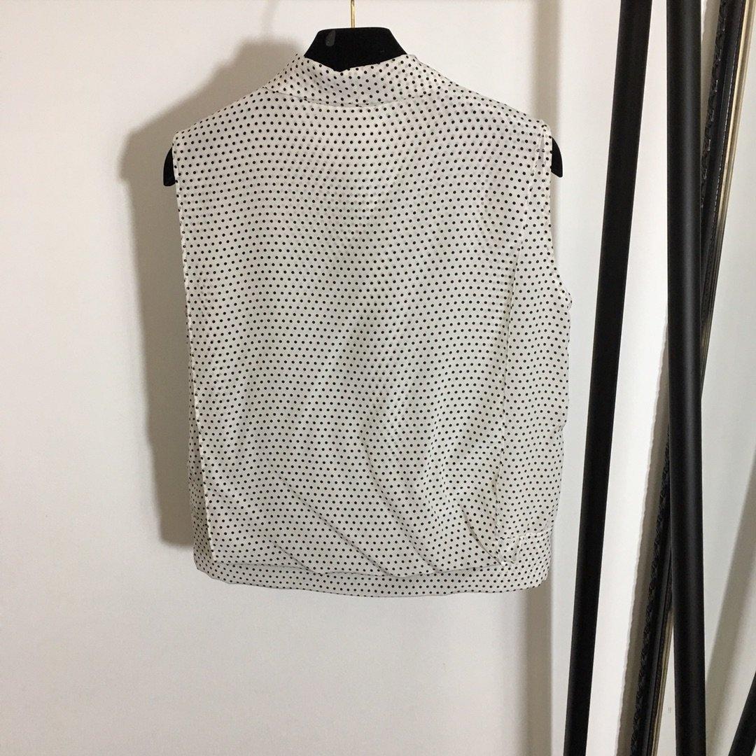 Dior新款气质系带领波点印花无袖真