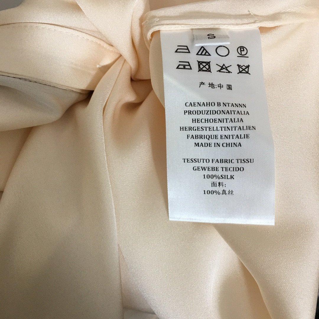 Dior新款拼色尖领喇叭长袖真丝衬衣