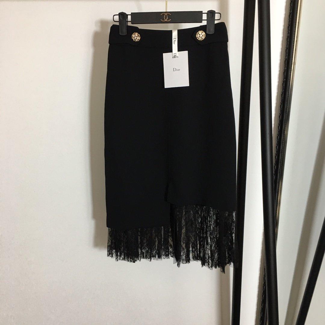 Dior新款蕾丝网纱拼接不规则下摆高