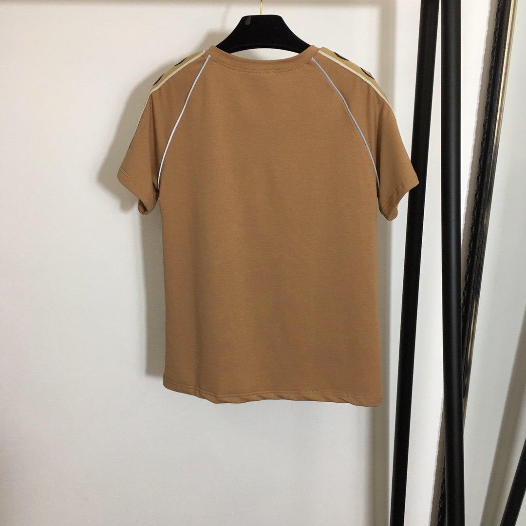 Gucci新款G字母织带拼肩短袖T恤