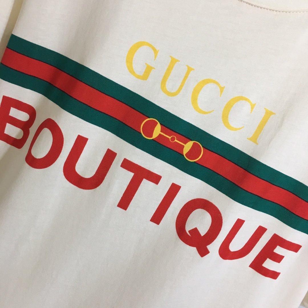 Gucci新款红绿条纹logo印花休