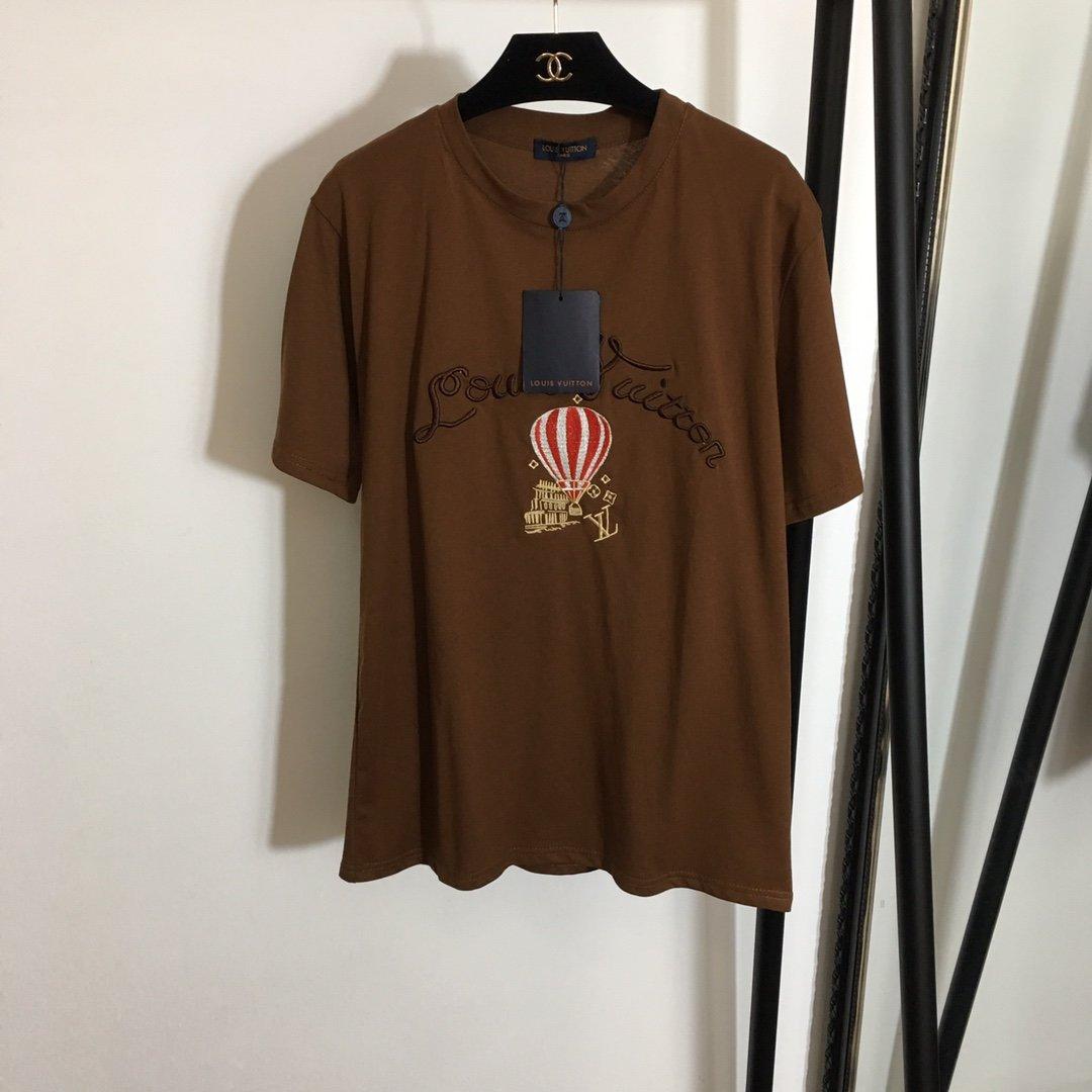 LV新款热气球字母刺绣时尚百搭短袖T