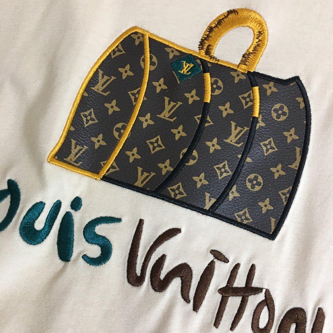 LV新款LV皮包刺绣字母时尚百搭短袖