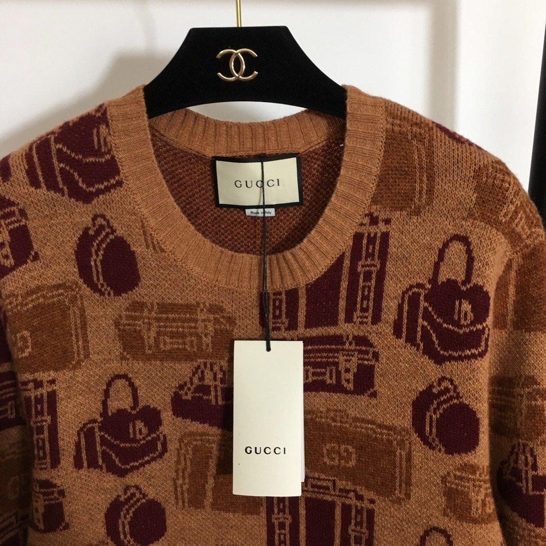 Gucci新款满身包包提花图案圆领长
