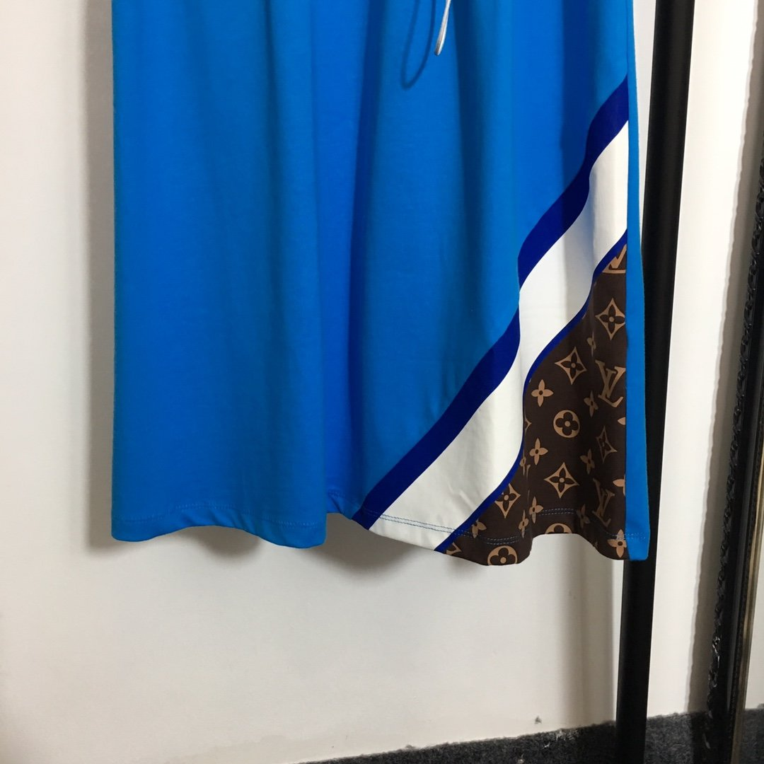 LV新款刺绣logo抽绳收腰短袖连衣