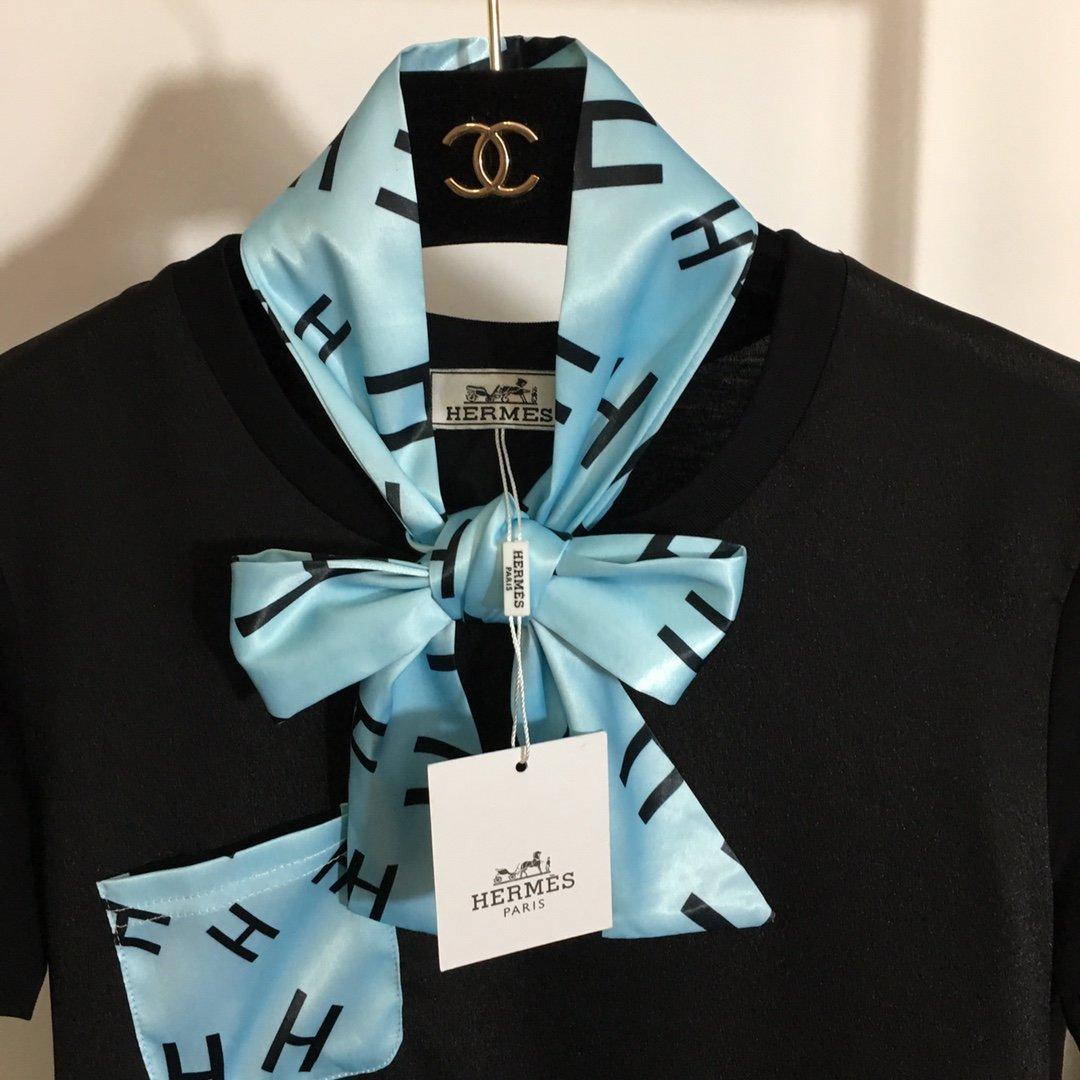 Hermes新款蝴蝶系带领短袖T恤+