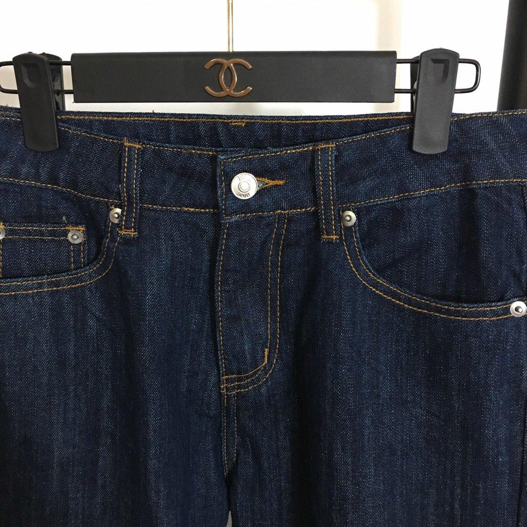 Dior新款字母卷裤脚高腰显瘦九分牛