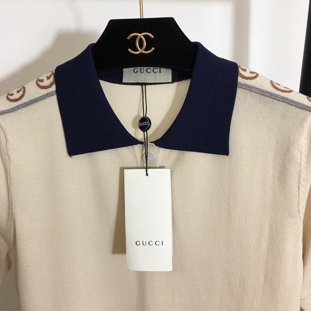 Gucci新款前短后长Polo领短袖