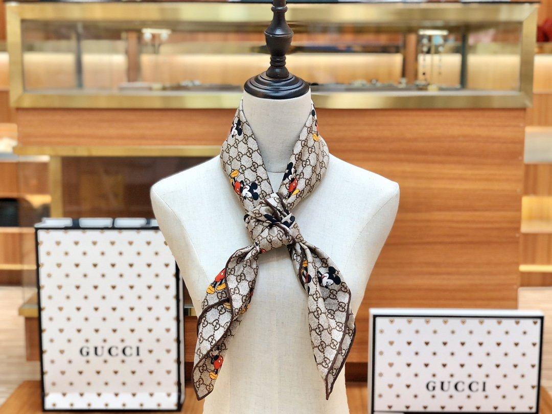 Gucci X Disneyp限量联名系列米奇老鼠斜纹真丝方巾(图12)