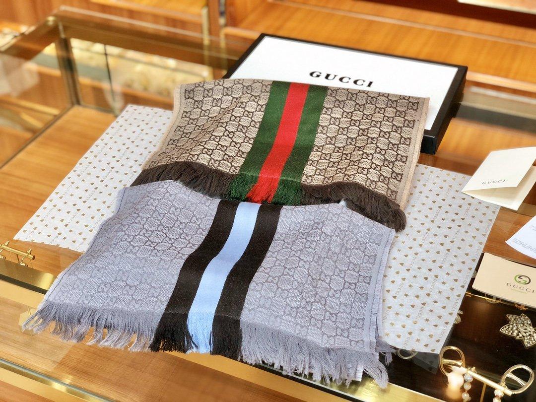 古奇Gucci经典男士羊毛围巾 海外原单双边彩条斜纹红绿带(图3)