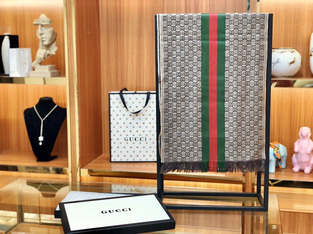 古奇Gucci经典男士羊毛围巾 海外原单双边彩条斜纹红绿带(图9)