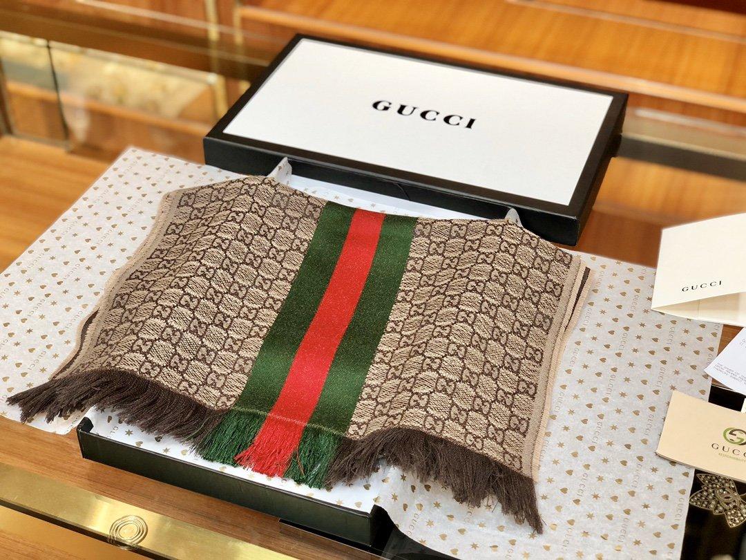 古奇Gucci经典男士羊毛围巾 海外原单双边彩条斜纹红绿带(图5)