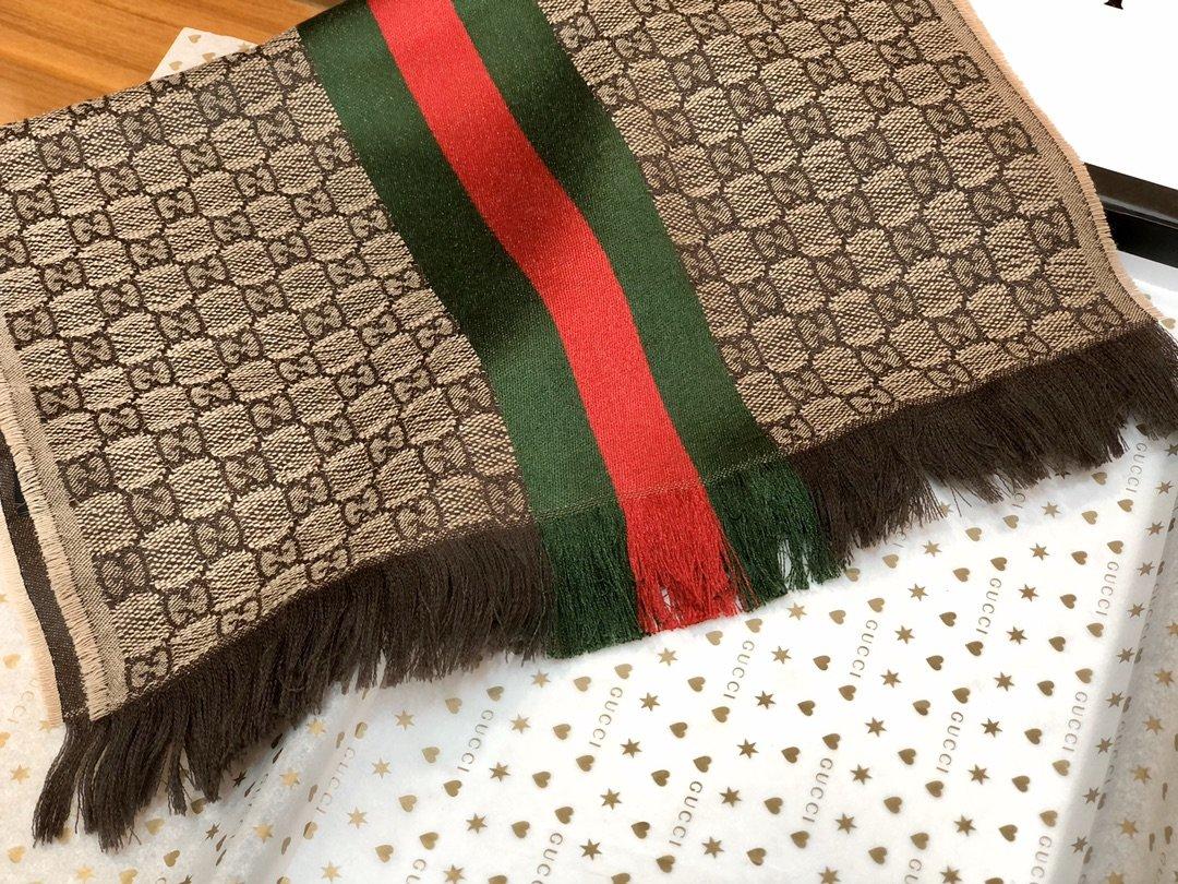 古奇Gucci经典男士羊毛围巾 海外原单双边彩条斜纹红绿带(图8)