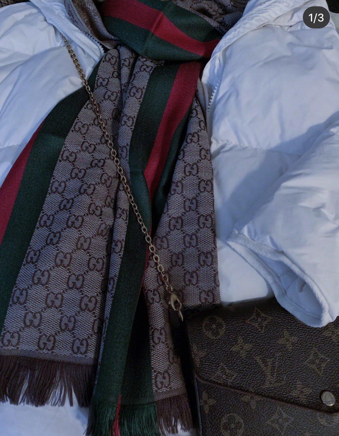 古奇Gucci经典男士羊毛围巾 海外原单双边彩条斜纹红绿带(图1)