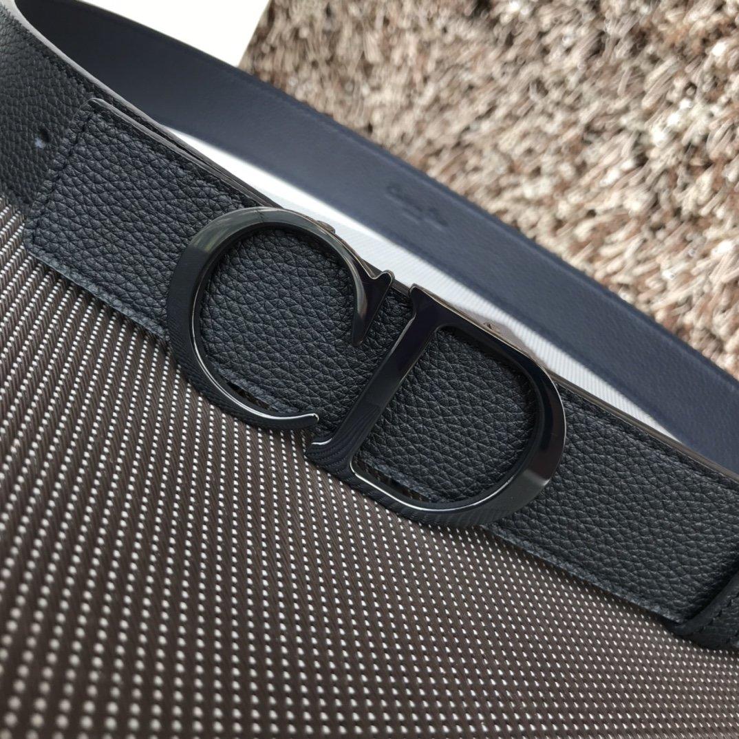 Dior双面意大利顶级进口头层荔枝纹牛皮纯铜扣(图3)