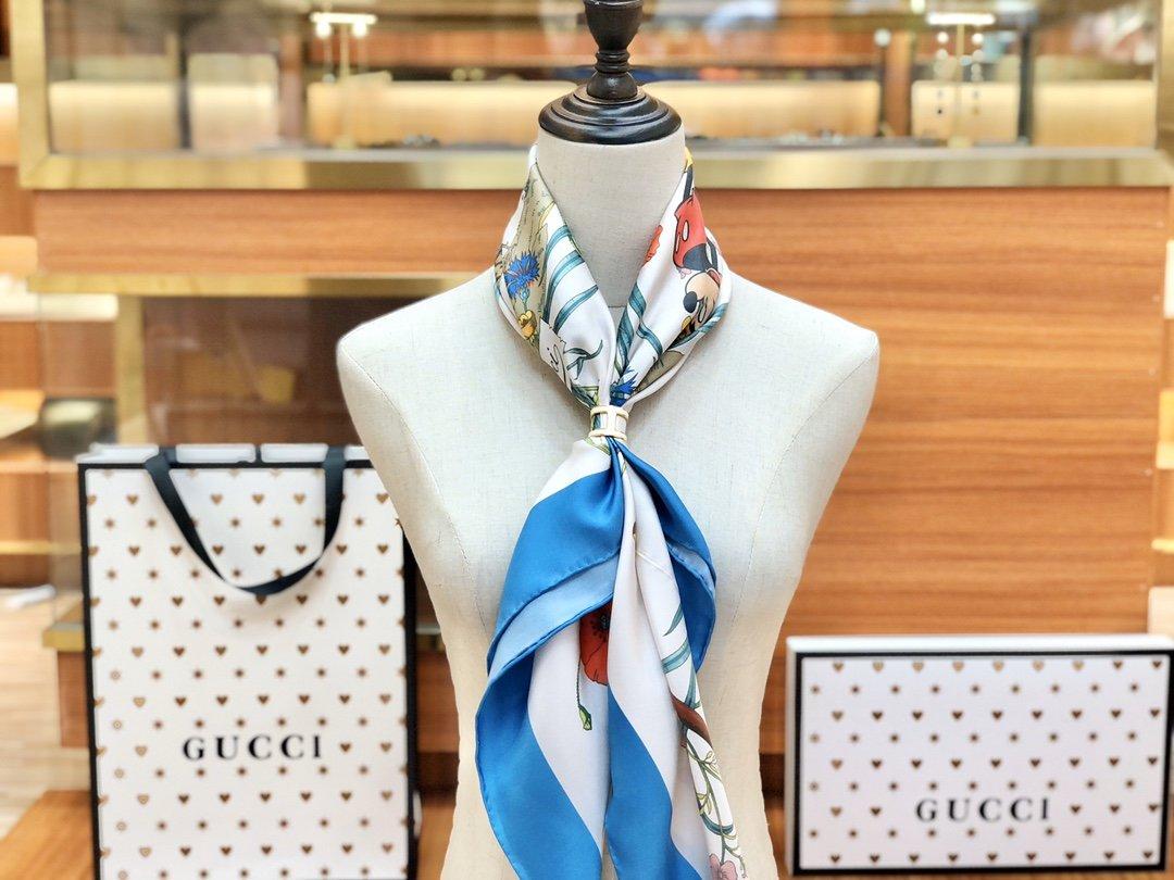 Gucci X Disneyp限量联名系列米奇老鼠斜纹真丝方巾(图8)