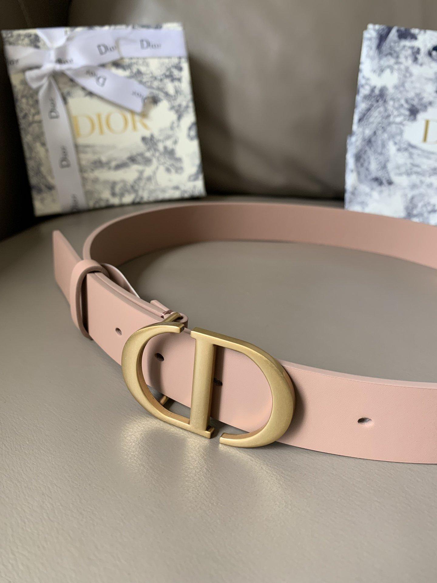 Dior新款双面意大利级顶进口头层平纹小牛皮女士腰带(图2)