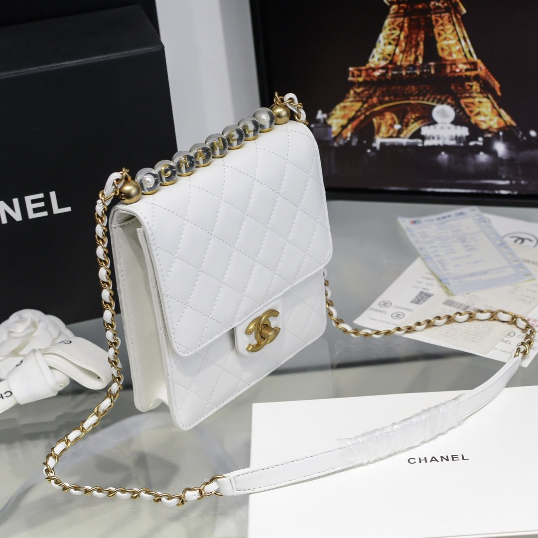 chanel香奈儿 2020春透夏明珍珠级高系列透明珠珍菱格条链包(图3)