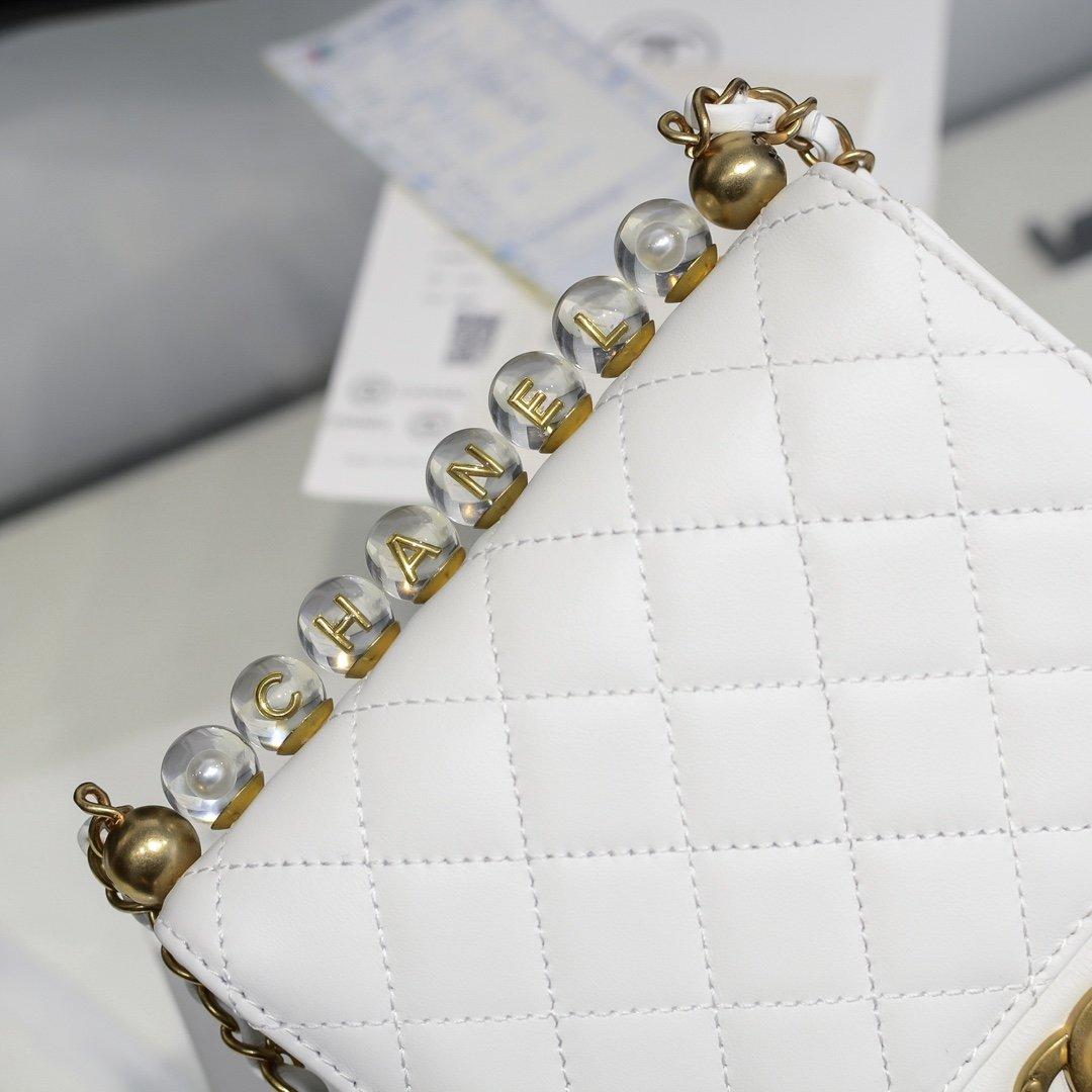 chanel香奈儿 2020春透夏明珍珠级高系列透明珠珍菱格条链包(图5)