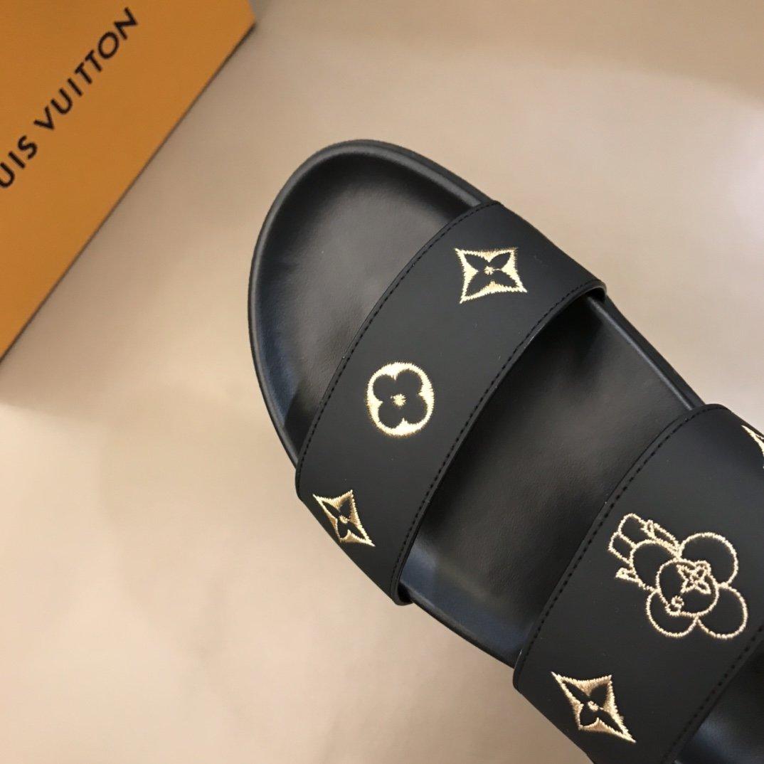 LV牌奢品男士拖鞋高端精品原版牛皮材