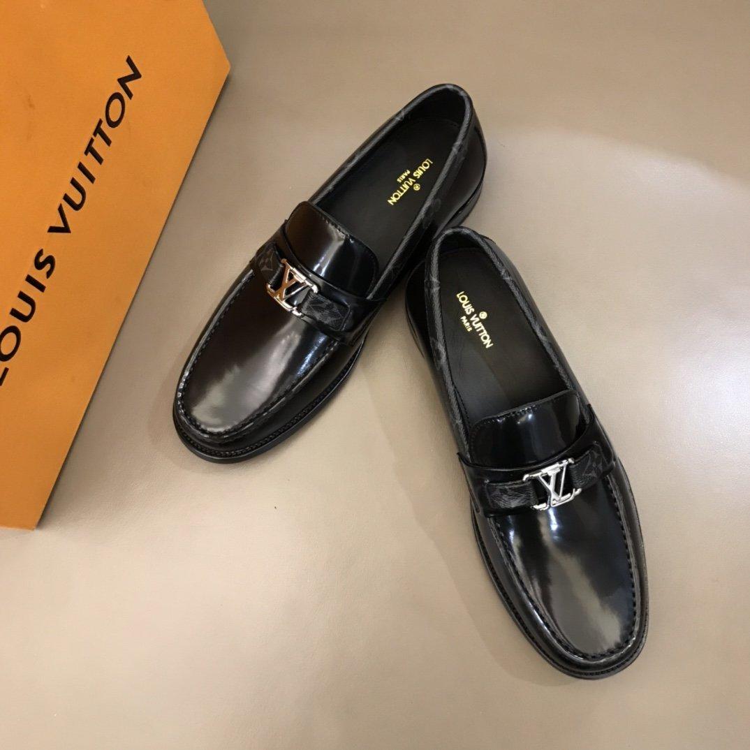Lv高端真皮大底经典男士商务皮鞋进口
