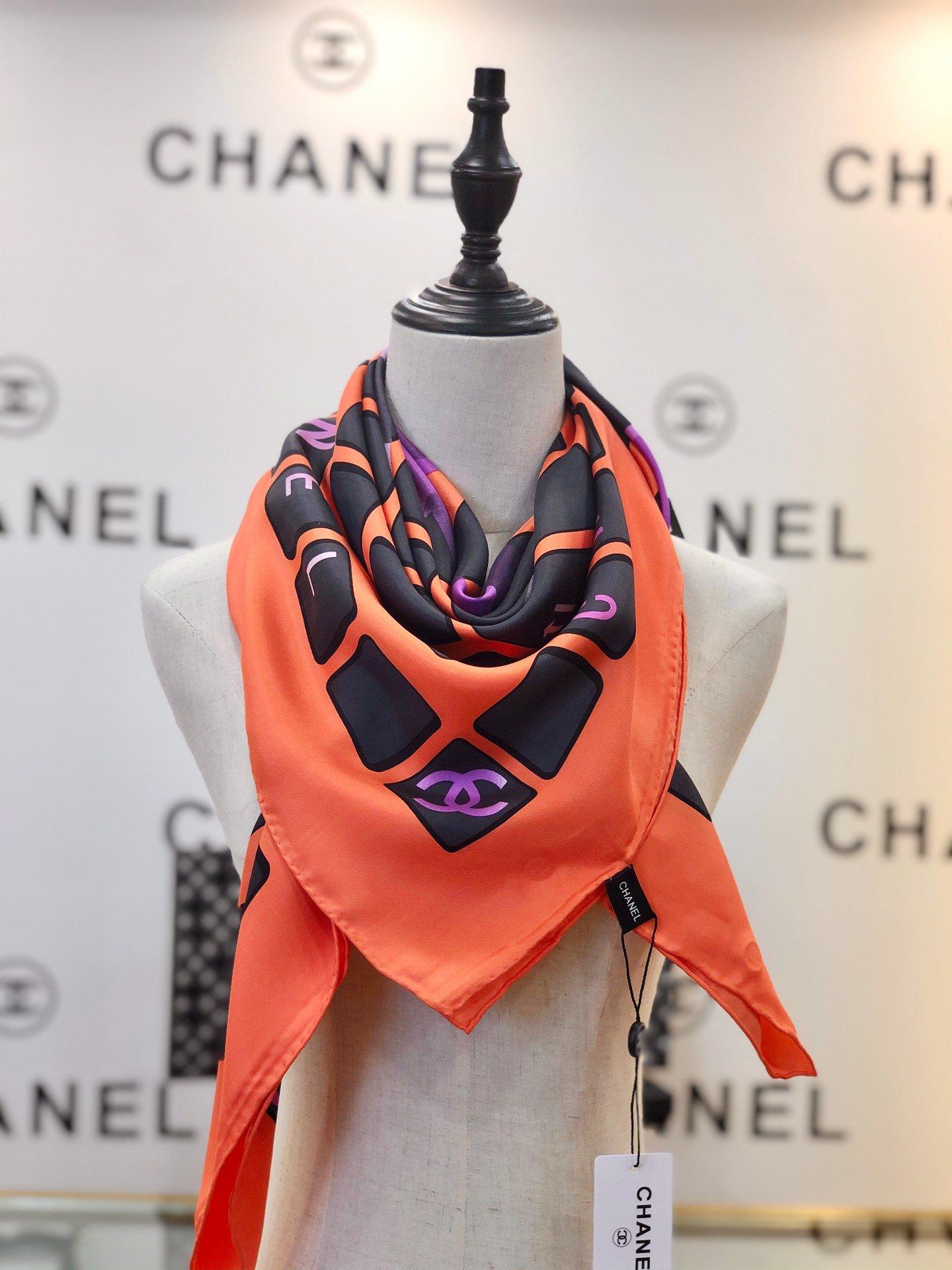chanel香奈儿海外原单丝巾键盘排列和渐变logo元素(图8)