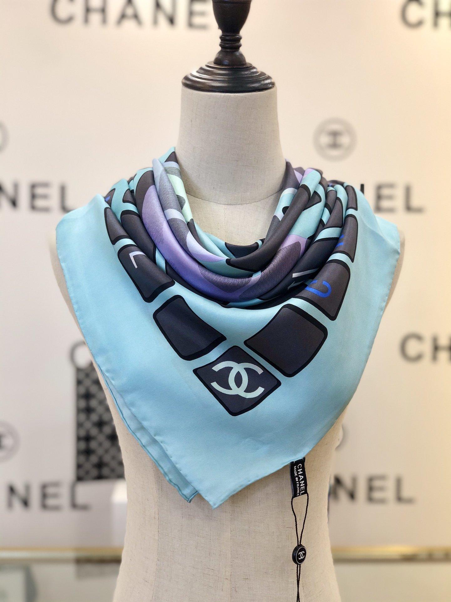 chanel香奈儿海外原单丝巾键盘排列和渐变logo元素(图9)