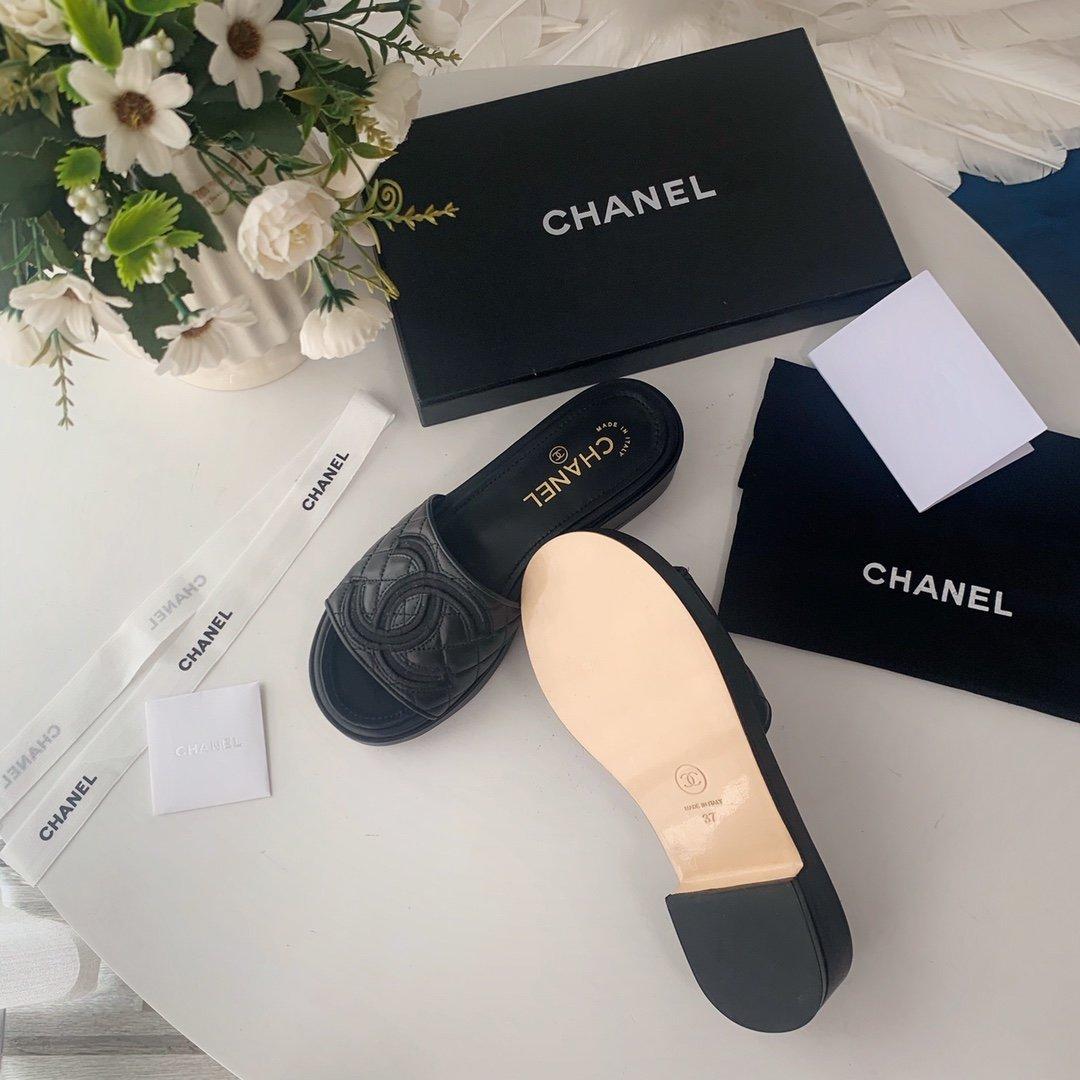 Chanel20春夏全羊皮蜜儿拖鞋菱格刺绣(图3)