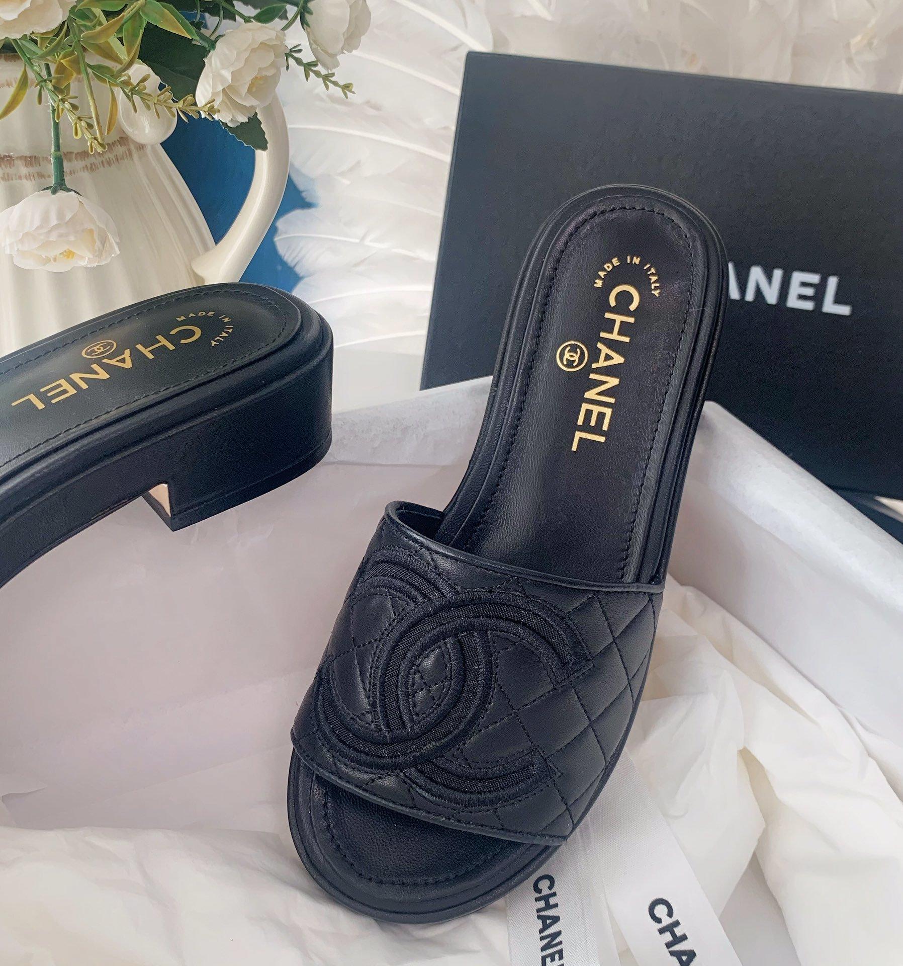 Chanel20春夏全羊皮蜜儿拖鞋菱格刺绣(图8)