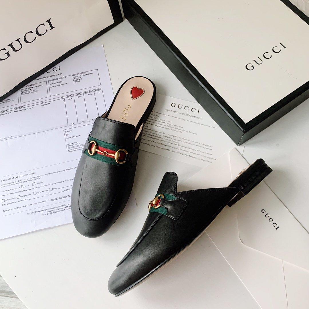 Gucci 2020早秋系列 穆勒鞋红蓝织带(图5)