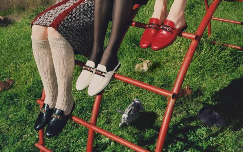 Gucci 2020早秋系列 穆勒鞋红蓝织带(图1)
