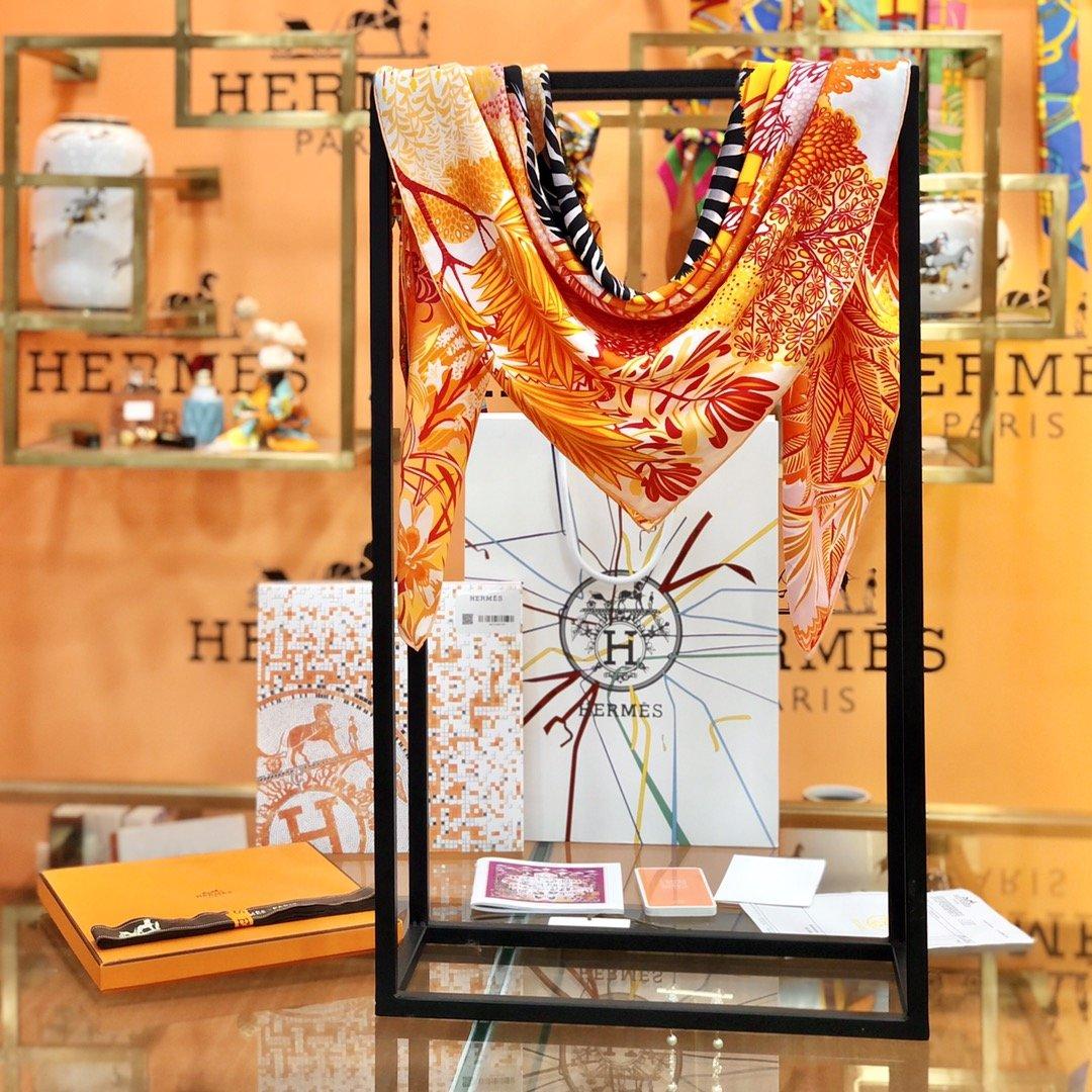 Hermes新款林中斑马90cm真丝方巾