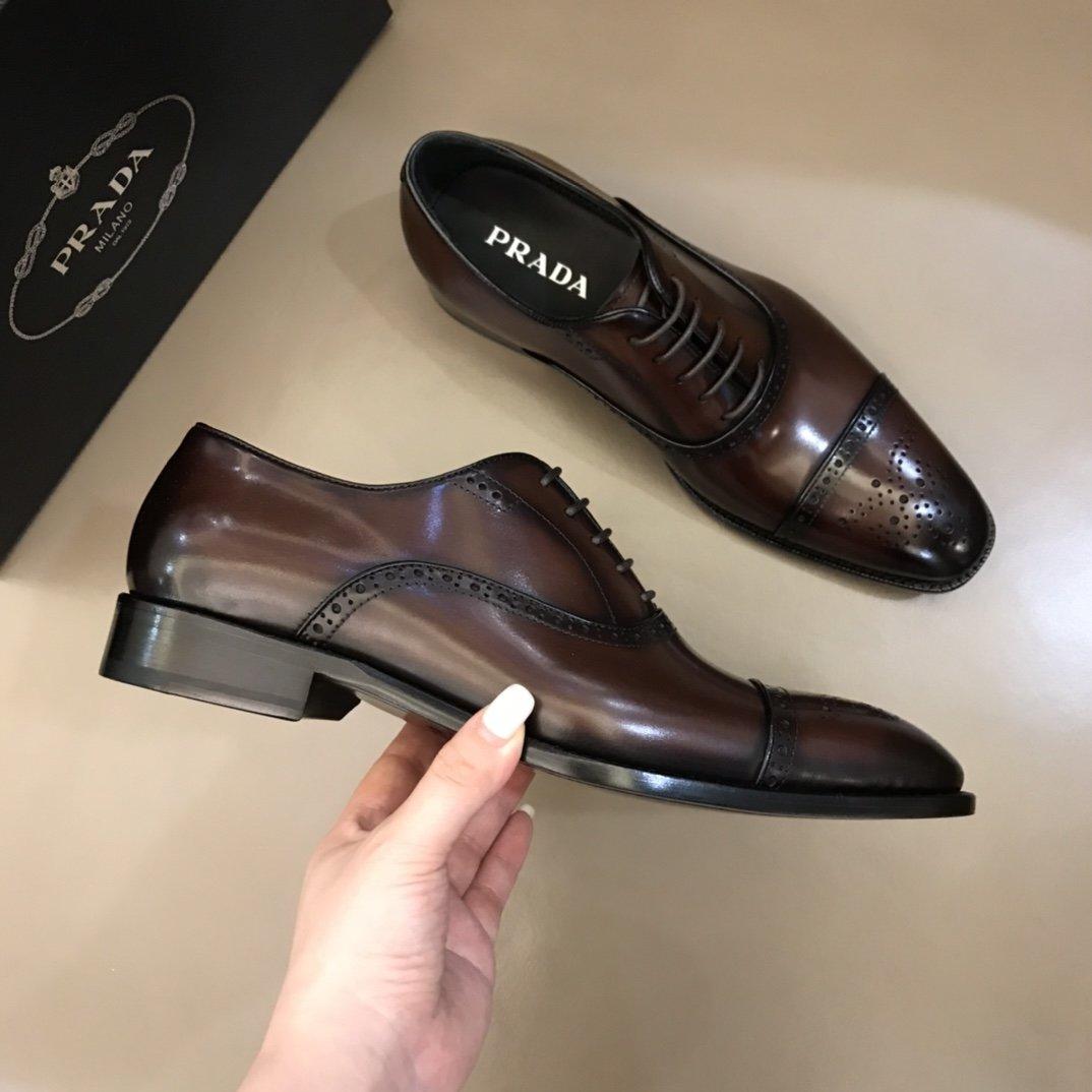 Prada家原单男士商务正装皮鞋!这