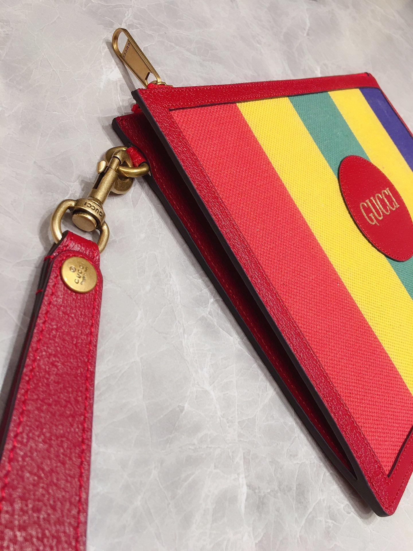 Gucci专柜同步上新 原单出品 Baiadera宽条纹帆布手拿包 (图7)