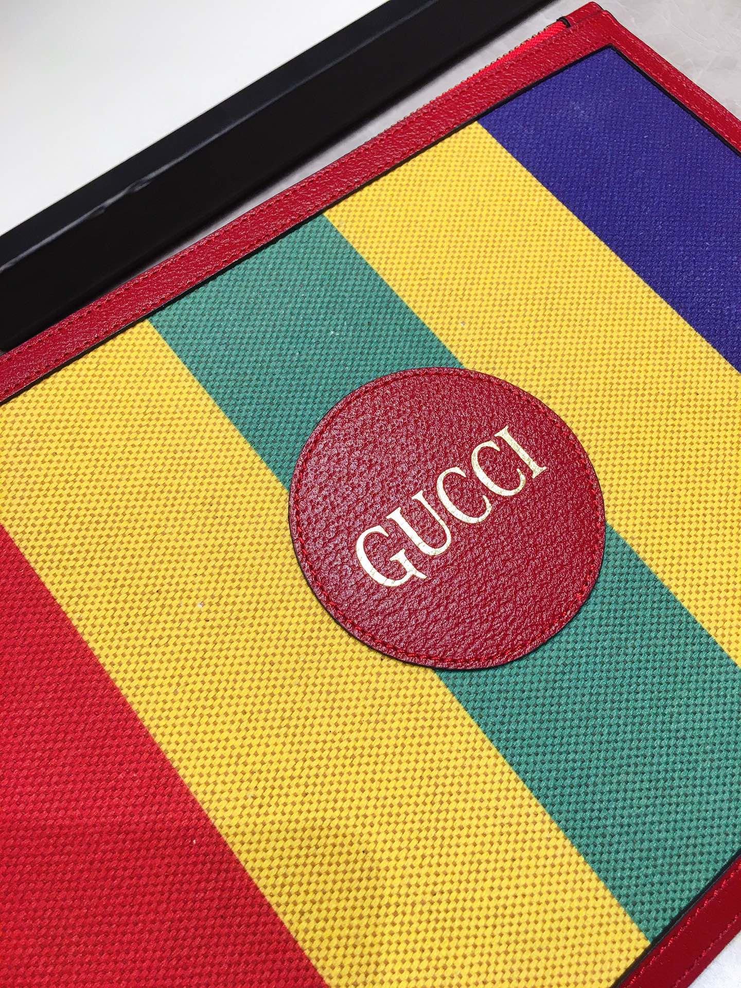 Gucci专柜同步上新 原单出品 Baiadera宽条纹帆布手拿包 (图3)