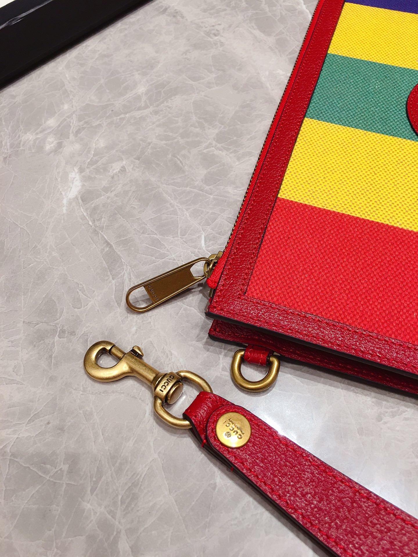 Gucci专柜同步上新 原单出品 Baiadera宽条纹帆布手拿包 (图6)