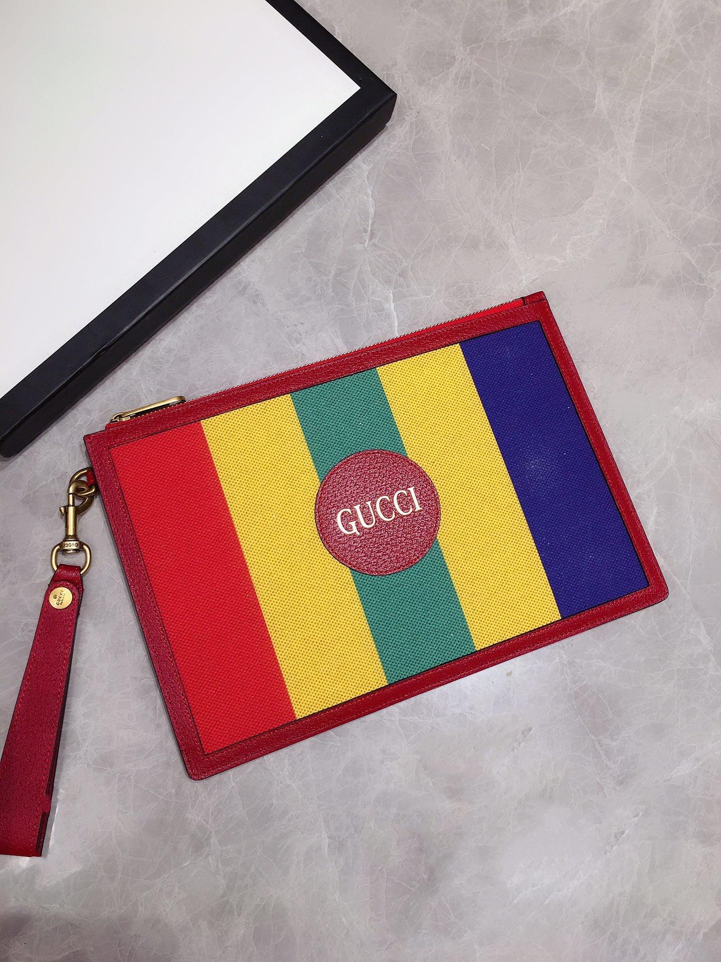 Gucci专柜同步上新 原单出品 Baiadera宽条纹帆布手拿包 (图2)