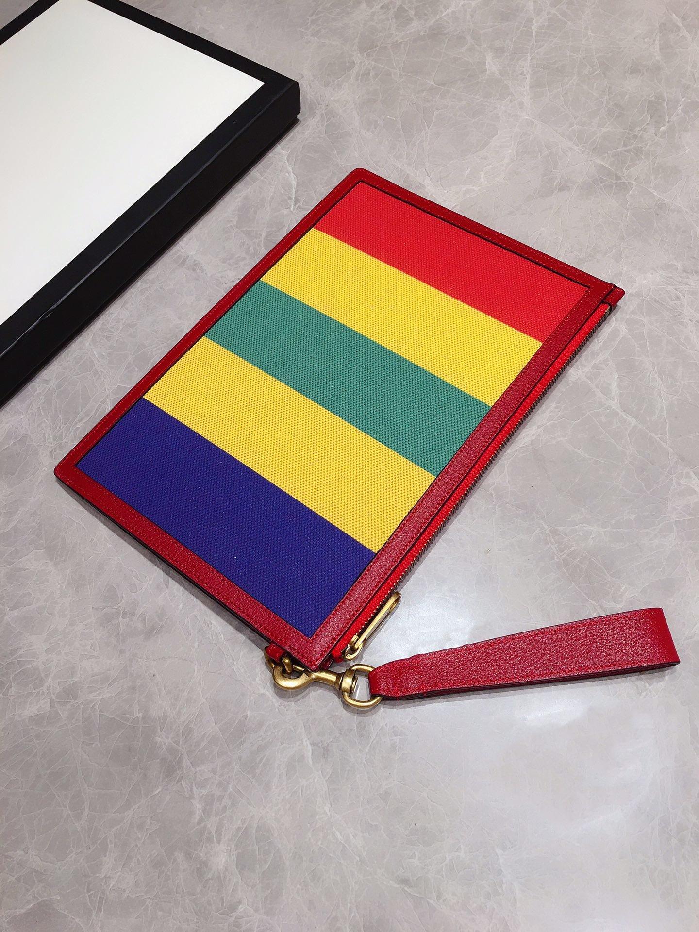 Gucci专柜同步上新 原单出品 Baiadera宽条纹帆布手拿包 (图4)
