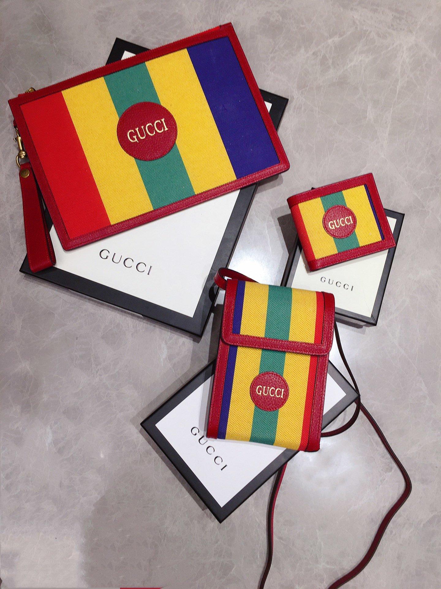 Gucci专柜同步上新 原单出品 Baiadera宽条纹帆布手拿包 (图1)
