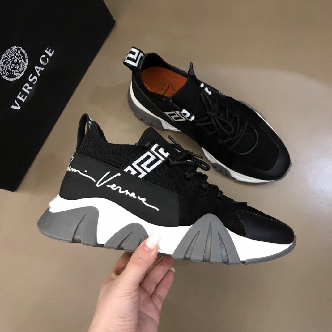 Versace男士厚底增高运动鞋鞋面