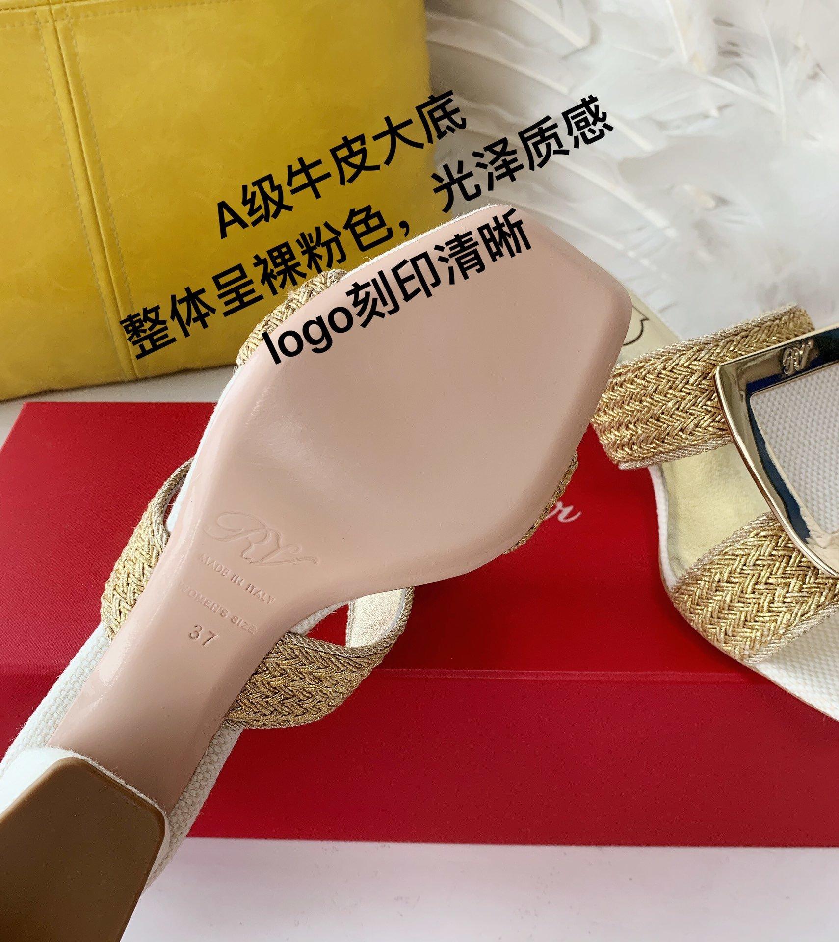 Roger Vivier编织穆勒鞋金属扣粗喇叭跟亚麻编织(图6)