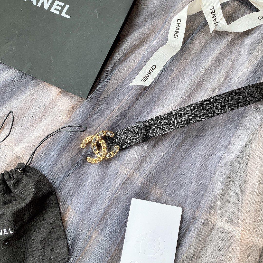 chanel香奈儿cc链条穿节金属logo扣.小牛皮软腰带(图3)