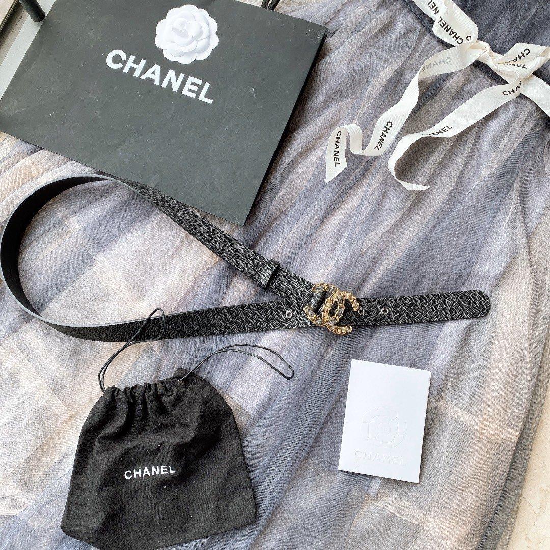 chanel香奈儿cc链条穿节金属logo扣.小牛皮软腰带(图6)