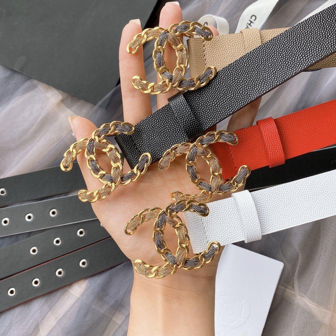 chanel香奈儿cc链条穿节金属logo扣.小牛皮软腰带(图1)
