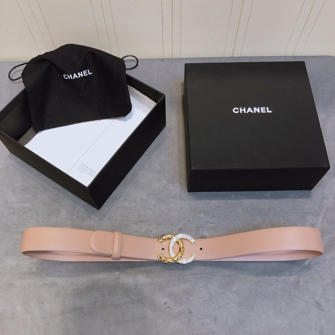 chanel香奈儿cc水钻logo扣女士皮带