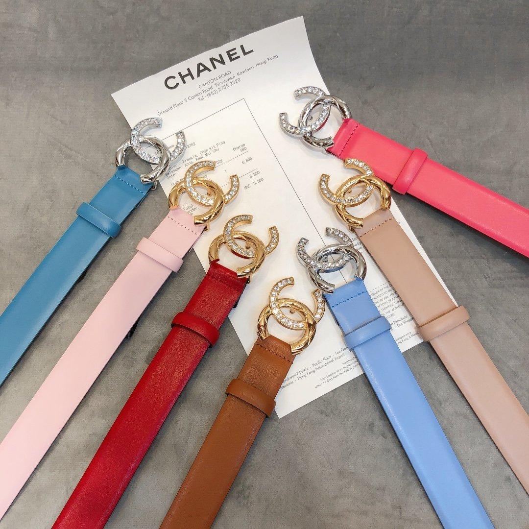 chanel香奈儿cc水钻logo扣女士皮带(图1)